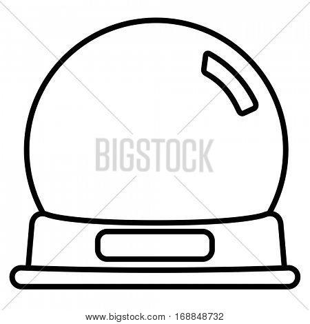 Empty snow globe. Linear thin line vector illustration
