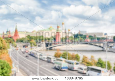 Defocused Background With Aerial View Over Moskva River, Moscow, Russia