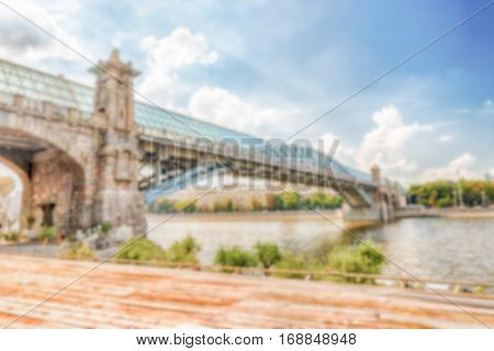 Defocused Background With View Over Pushkinsky Bridge In Moscow, Russia