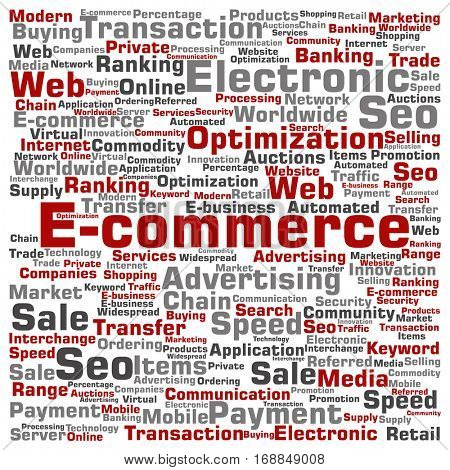 Concept or conceptual E-commerce electronic sales square word cloud isolated on background metaphor to seo, optimization transaction, web advertising, e-business, technology, worldwide supply