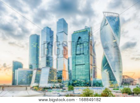 Defocused Background With View Of Moscow Skyline, Russia