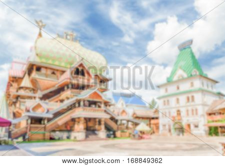 Defocused Background With The Iconic Izmailovskiy Kremlin In Moscow, Russia