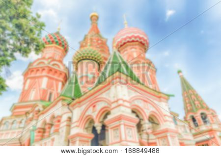Defocused Background Of St. Basil's Cathedral In Central Moscow, Russia