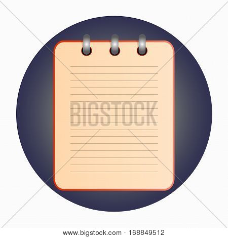 Red tear-off notepad on the rings with lines. Blank sheet on blue background. School business diary. Template can be used for any design, on web sites. Vector icon in flat style. Square. Isolated.