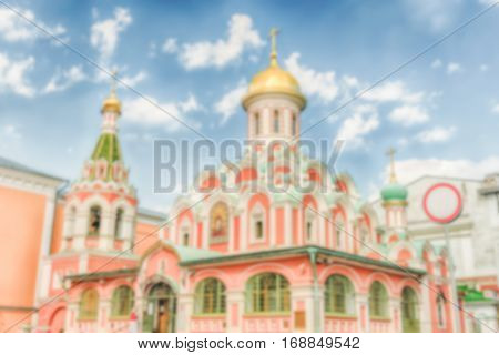 Defocused Background Kazan Cathedral In Red Square, Moscow, Russia