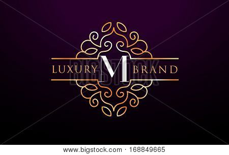 M Letter Logo Luxury.Royal Monogram Design with Golden Metal Colors.