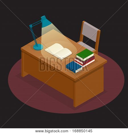 Education and school, study and literature. Flat isometrictable with a book and a lamp in the library a book, journal or magazine. Flat style vector illustration