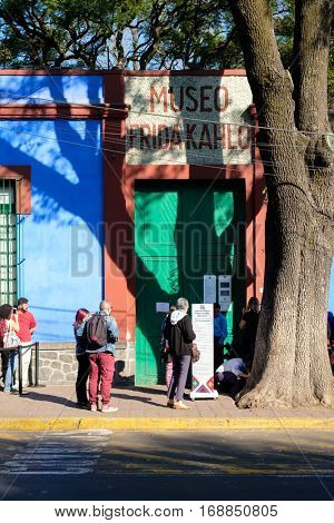 MEXICO CITY,MEXICO - DECEMBER 24,2016 : The Frida Kahlo Museum also known as The Blue House at Coyoacan in Mexico City