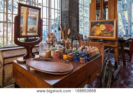 MEXICO CITY,MEXICO - DECEMBER 24,2016 : Frida Kahlo painting utensils at the Frida Kahlo Museum at Coyoacan in Mexico City