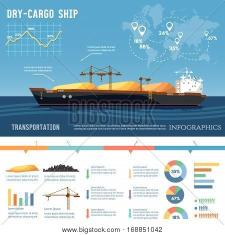 Cargo ship. Tanker cargo ship transports coal sand. Logistics and transportation concept