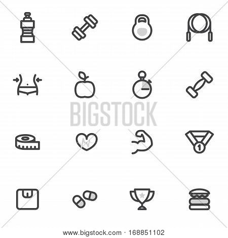 set of vector icons of fitness, sport and a healthy lifestyle on a light background.