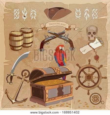 Old pirate treasure map vintage collection. Adventure stories background. Treasure chest parrot steering wheel skull rum saber pirate hat