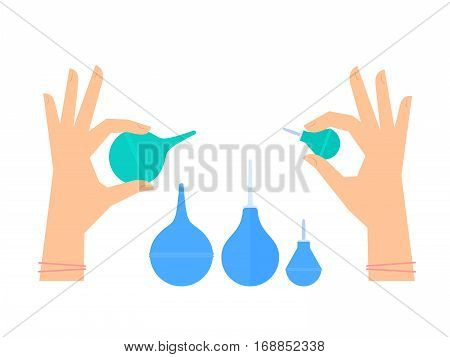 Doctor nurse is holding rubber enemas phials in his hand to make clyster. Medicine and health care flat concept illustration of hands with medical clinic hospital hygiene and squirt tools.