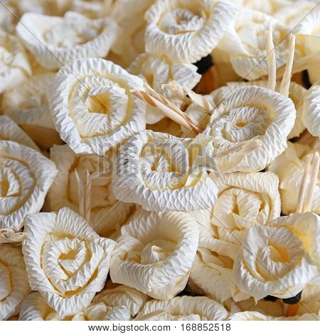Paper flowers for use in Buddhist cremation ceremony