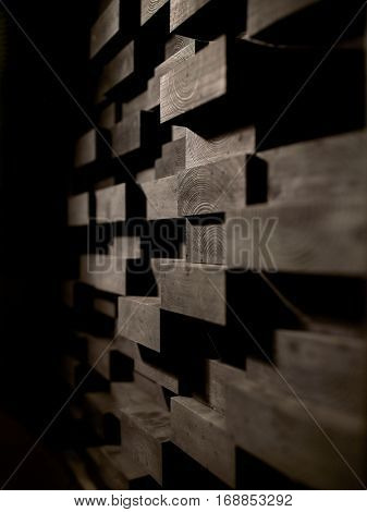 acoustic materials, texture, interior and soundproofing concept - wooden brick wall decoration at sound recording studio