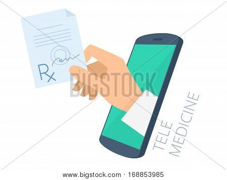 Doctor's hand holding rx through the phone screen giving the prescription to patient. Tele online medicine flat concept illustration. Vector design infographic element isolated on white background.