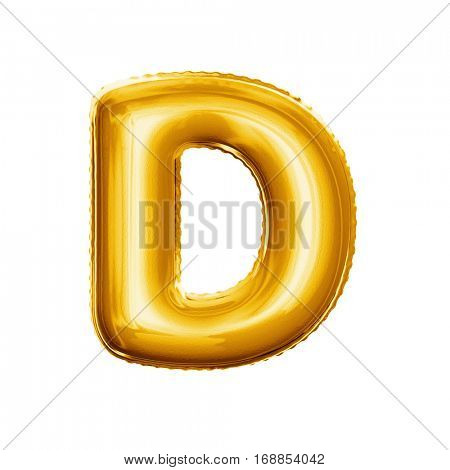 Balloon letter D. Realistic 3D isolated gold helium balloon abc alphabet golden font text. Decoration element for birthday or wedding greeting design on white background