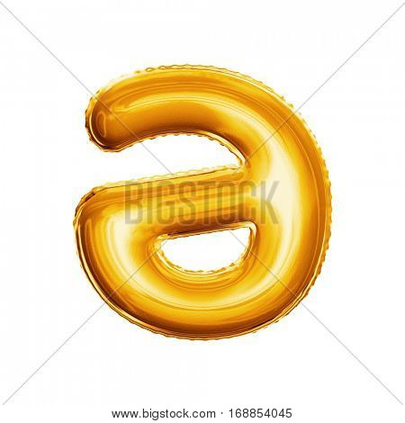 Balloon letter A Schwa. Realistic 3D isolated gold helium balloon abc Asian language alphabet golden font text. Decoration element for birthday or wedding greeting design white background