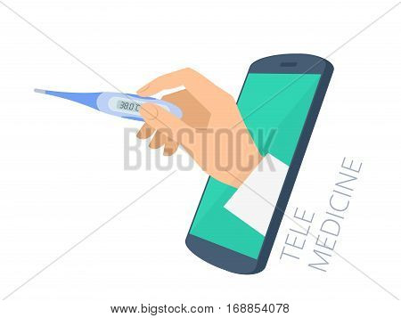 Doctor's hand holding a thermometer through the phone screen is measuring temperature. Tele online medicine flat concept illustration. Vector design infographic element isolated on white background.