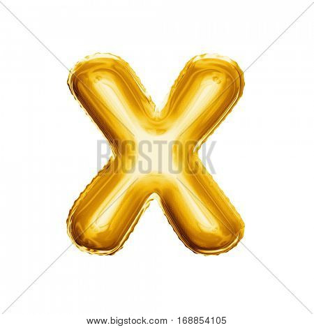 Balloon letter X. Realistic 3D isolated gold helium balloon abc alphabet golden font text. Decoration element for birthday or wedding greeting design on white background