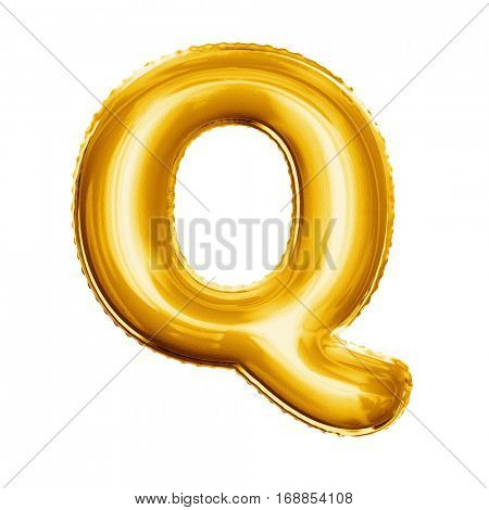 Balloon letter Q. Realistic 3D isolated gold helium balloon abc alphabet golden font text. Decoration element for birthday or wedding greeting design on white background