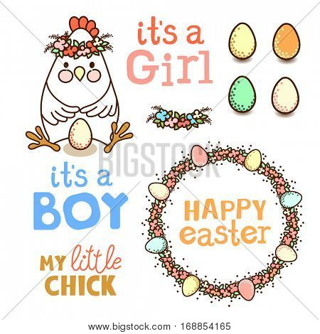 Set of elements for design - cute chicken, eggs and flower garlands. Good for Baby Shower invitations or Easter Greetings Card