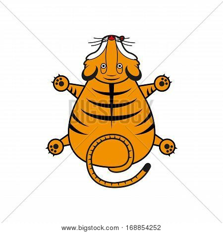 Cartoon vector tiger. Tiger cub top view