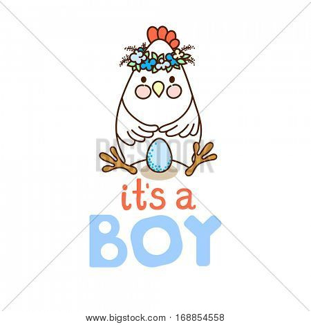 It`s a Boy! card template with cute chicken and blue egg