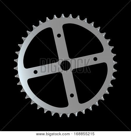 The front gearing cog of a bicycle.