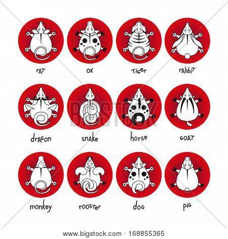 Chinese Zodiac Signs Icons Set Vector Photo Bigstock