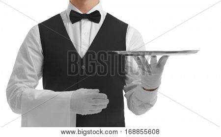 Waiter holding empty silver tray on white background