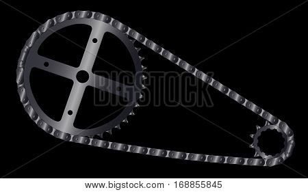 A bicycle chain and the driving and driven cogs.