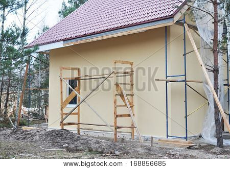 Building new House. Construction Site. Soffit and Fascia House Installation.