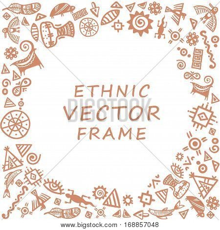 Cave painting tribal ethnic symbols - round ethnic frame for text