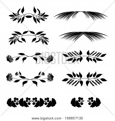 Elegant floral decorative elements set with branches and leaves isolated on white. Vector illustration