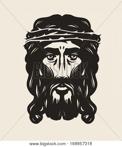 Jesus Christ face. God, religion symbol Vector illustration