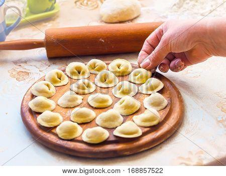 Homemade Meat Dumplings, Raw Tortellini And Ravioli