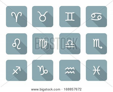 Set of zodiac symbols gray blue icons with shadow on the white background