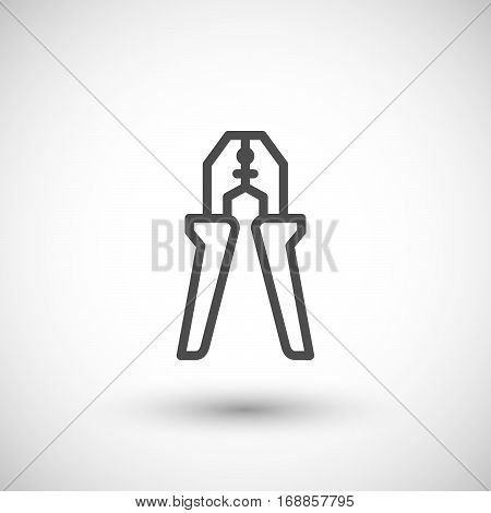 Wire strippers line icon isolated on grey. Vector illustration