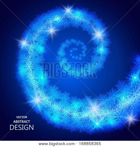 Whirlwind from snowflakes. Circulation of a snow blizzard. Winter abstract background. Design element. Vector illustration.