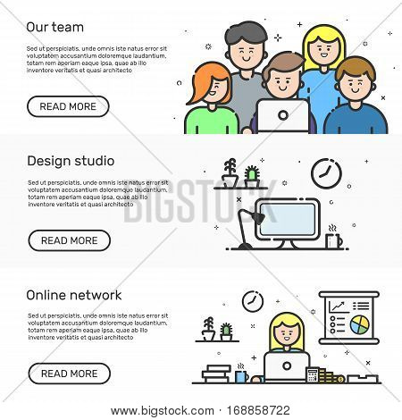 Vector illustration of set website banners with colored icon in flat line style. Linear cute and happy people teamwork. Design concept of our team, design studio, online network for website.