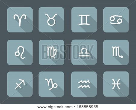 Set of zodiac symbols gray blue icons with shadow on the gray background
