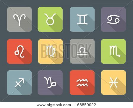 Set of zodiac symbols colored icons with shadow on the dark gray background