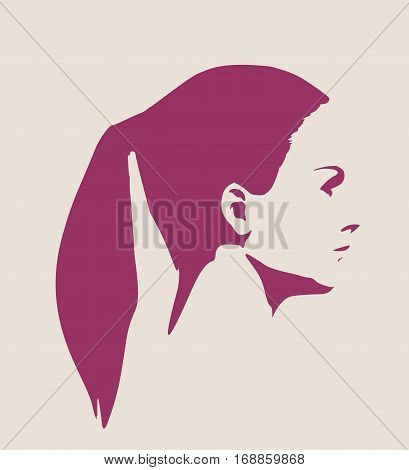 Face profile view. Elegant silhouette of a female head. Vector Illustration. Pony tail hair. Monochrome gamma.