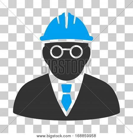 Clever Engineer icon. Vector illustration style is flat iconic bicolor symbol blue and gray colors transparent background. Designed for web and software interfaces.