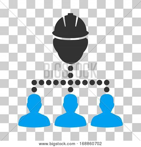 Engineer Staff Relations icon. Vector illustration style is flat iconic bicolor symbol blue and gray colors transparent background. Designed for web and software interfaces.