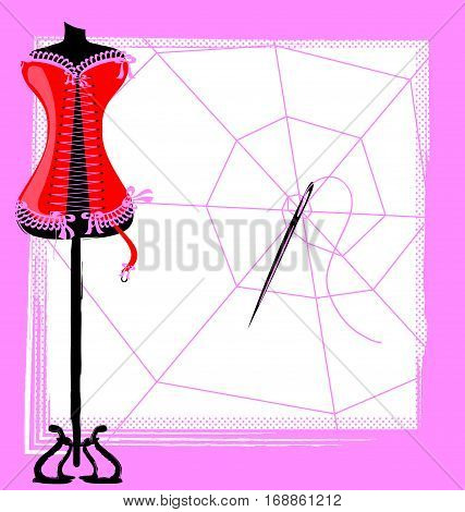 abstract image of sewing craft and womens corset with spider web and large needle