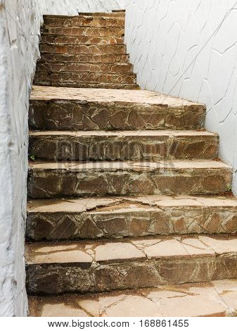Background Old Stairs Made Of Natural Stone Leads Upstairs