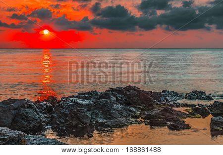 Dawn on the Black Sea.  This dramatic dawn in Sozopol, Bulgaria.