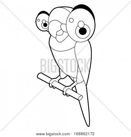 Cute funny cartoon style coloring bird illustration. Parrot